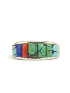 Turquoise, Coral & Lapis Sculpted Inlay Band Ring Size 10 1/2 (RG5050)