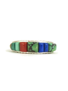 Turquoise, Coral & Lapis Sculpted Inlay Band Ring Size 9 (RG5052)
