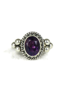 Silver Amethyst Gallery Wire Ring Size 6 1/2 (RG5057)