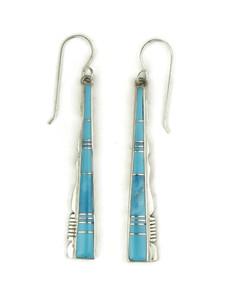 Kingman Turquoise Inlay Earrings by Calvin Begay (ER4188)