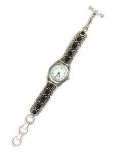 Silver Onyx Toggle Watch Bracelet