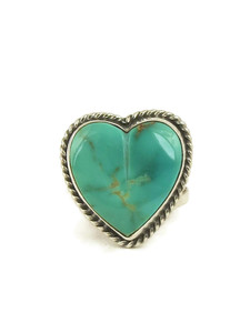 Royston Turquoise Heart Ring Size 9 by Linda Yazzie