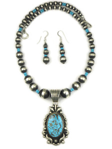 Kingman Turquoise Pendant Necklace Set by Albert Jake (NK4355)