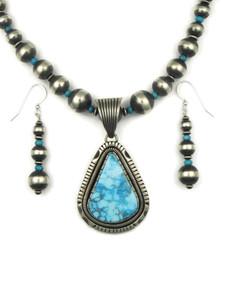 Kingman Turquoise Pendant Necklace Set by Tsosie White (NK4356)