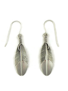 Silver Feather Earrings by Lena Platero