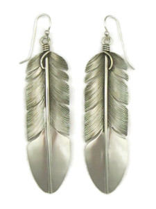 "Sterling Silver Feather Earrings 3"" by Lena Platero (ER5132)"