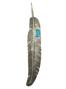 "Large Blue Ridge Turquoise Silver Feather Pendant 6 1/2"" (PD4104)"