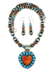 Sleeping Beauty Turquoise & Spiny Oyster Shell Heart Necklace Set