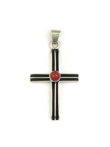 Silver Mediterranean Coral Channel Cross Pendant (PD4114)