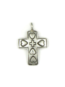 Hand Stamped Silver Cross Pendant with Hearts (PD4117)