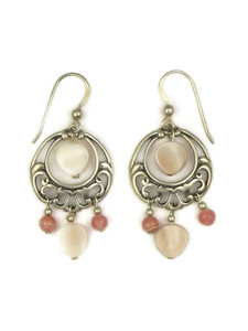 Mother of Pearl & Rhodochrosite Dangle Earrings