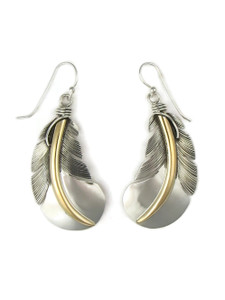 12k Gold & Sterling Silver Feather Earrings (ER5127)