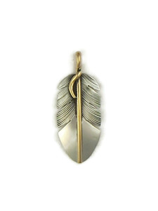 12k Gold & Sterling Silver Feather Pendant by Lena Platero (PD4120)