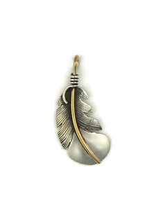 12k Gold & Sterling Silver Feather Pendant by Lena Platero (PD4121)