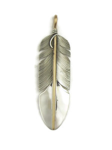 12k Gold & Silver Feather Pendant by Lena Platero (PD4123)
