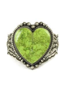 Gaspeite Heart Bracelet by Aaron Toadlena (BR6079)