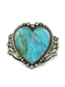 Kingman Turquoise Heart Bracelet by Aaron Toadlena (BR6080)