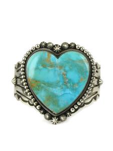 Kingman Turquoise Heart Bracelet by Aaron Toadlena (BR6082)