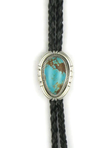 Number 8 Turquoise Bolo Tie by Joe Piaso Jr. (BL626)