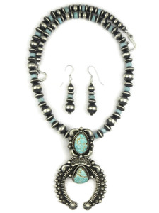 Number 8 Turquoise Naja Necklace Set by LaRose Ganadonegro (NK4582)