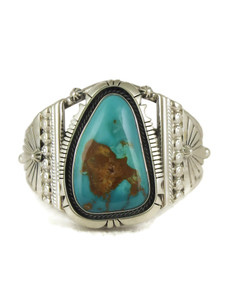 Pilot Mountain Turquoise Bracelet by Joe Piaso Jr. (BR6147)