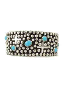 Sleeping Beauty Turquoise Silver Cross Cuff Bracelet by Ronnie Willie (BR6161)