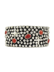 Mediterranean Coral Silver Cross Cuff Bracelet by Ronnie Willie (BR6162)