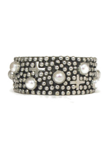 Pearl Silver Cross Cuff Bracelet by Ronnie Willie (BR6163)