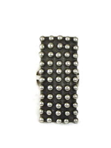 Long Silver Bead Ring Size 6 1/2 by Ronnie Willie (RG5069-6.5)