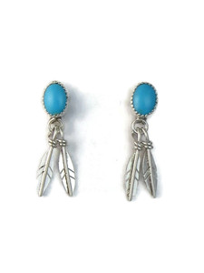 Sleeping Beauty Turquoise Silver Feather Earrings (ER5146)
