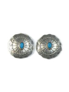 Turquoise Silver Concho Earrings (ER5150)