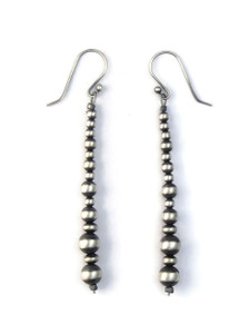 Long Silver Bead Stick Earrings (ER5170)