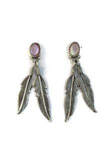 Pink Mother of Pearl Silver Feather Earrings (ER5173)