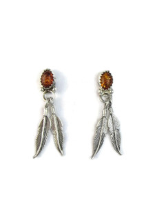 Amber Silver Feather Earrings (ER5176)