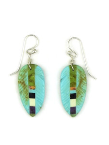 Turquoise Gemstone Inlay Feather Slab Earrings by Ronald Chavez (ER5208)