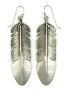"Silver Feather Earrings 3"" by Lena Platero (ER5213)"