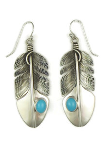 Sleeping Beauty Turquoise Silver Feather Earrings by Lena Platero (ER5214)