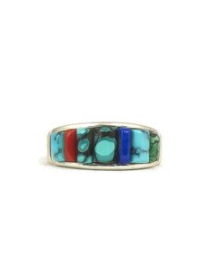 Sculpted Turquoise, Lapis & Coral Inlay Ring Size 11 1/2 (RG4300)