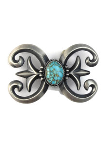 Number 8 Turquoise Sand Cast Belt Buckle by Harrison Bitsue (BKL820)