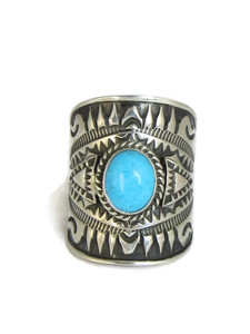 Sleeping Beauty Turquoise Cigar Band Ring Size 9 by Derrick Gordon (RG4309)