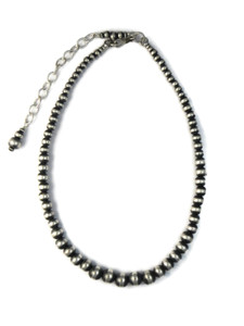 Graduated Silver Bead Necklace with Extension Chain (NK4584)