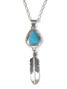 Kingman Turquoise Feather Pendant by John Nelson (PD4128)