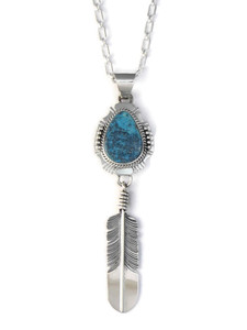 Kingman Turquoise Silver Feather Pendant by John Nelson (PD4131)