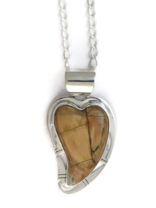 Fossilized Mammoth Tooth Ivory Heart Pendant by Phillip Sanchez (PD4166)