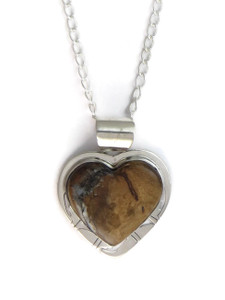 Fossilized Mammoth Tooth Ivory Heart Pendant by Phillip Sanchez (PD4167)