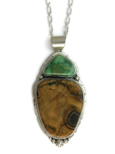 Fossilized Mammoth Tooth Ivory & Emerald Valley Turquoise Pendant (PD4170)