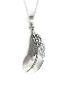 Silver Feather Pendant by Lena Platero (PD4202)