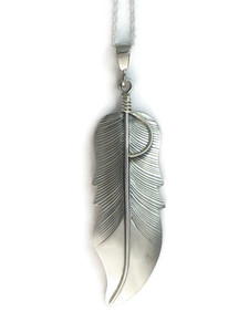 Silver Feather Pendant by Lena Platero (PD4204)