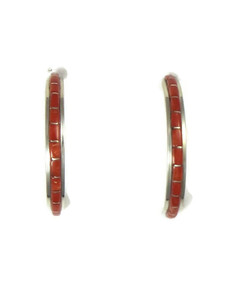 Mediterranean Coral Inlay Hoop Earrings by Kim Kallstewa (ER5224)