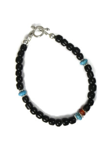 Onyx, Turquoise & Carnelian Bead Bracelet (BR6232)